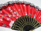 Red Spanish Flower Floral Fabric Lace Folding Hand Dancing Fan Party Favor