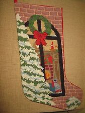 Tapestry Christmas Stocking*embroidery*tree cat wreath fireplace window scene