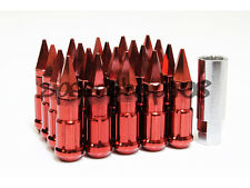 Z RACING RED SPIKE LUG NUTS 12X1.5MM STEEL OPEN EXTENDED KEY TUNER