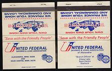 Lot of 2 Billboard UNITED FEDERAL SAVINGS & LOAN Alexandria Starbuck MN Vintage