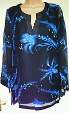NEW BANKE B BLACK BLUE LONG SLEEVE CHIFFON TUNIC DRESS BLOUSE TOP SIZE 8-20