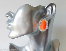 Gorgeous bright neon orange bead & diamante - crystal stud earrings
