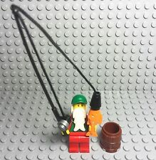 Lego New Fisherman Beard Mini Figure W/ Baseball Hat,fishing Rod,barrel And fish