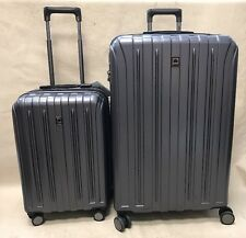 "Delsey Helium Titanium Set 21"" Carry On & 29"" Spinner Exp Suitcases Graphite"