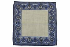 Battisti Pocket Square Blue with grey framed pattern, pure wool