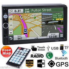"""7"""" Double 2Din Car Stereo MP3 MP5 Radio Player GPS Navi Touch Bluetooth+Free Map"""