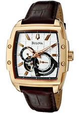 BULOVA DRESS AUTOMATIC SILVER DIAL BROWN LEATHER STRAP MEN'S WATCH 97A103 NEW