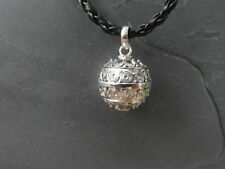 "Balinese Harmony Ball pendant genuine 925 silver 18mm ""Spirals"" with cord"