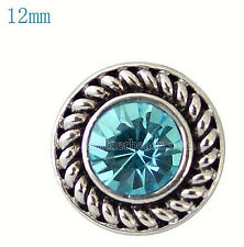Silver Blue Rhinestone 12mm Mini Petite Snap Charm For Ginger Snaps Jewelry