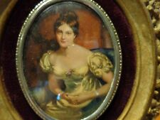 Vtg Countess Of Blessington cameo creation Victorian portrait picture in frame