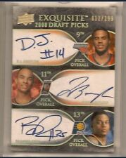 D.J. AUGUSTIN, JERRYD BAYLESS & RUSH 2007-08 EXQUISITE TRIPLE ROOKIE AUTO /199