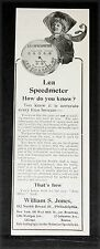 1907 OLD MAGAZINE PRINT AD, JONES LEA MOTOR CAR SPEEDMETER, ACCURATE EVERY TIME!