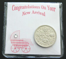 LUCKY SIXPENCE COIN KEEPSAKE BABY BIRTH CONGRATULATIONS NEW BABY - BABY GIRL