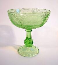 Glasschale Aufsatzschale Tafelaufsatz Coupe à Dessert grünes Pressglas Art Deco