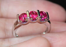 New Sz7 10K 1.3ct Ruby 3 Stone Engagement Anniversay Ring White Gold