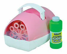 Portable Pink Bubble Machine Fluid Included - Plug In Mains or Battery Operated