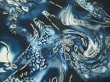 2.5 yards stretch poly spandex lycra fabric beautiful print with golden foil
