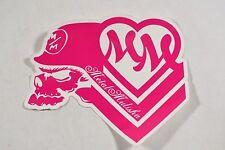 """Metal Mulisha MULISHA GIRLS Pink White 6"""" Skull Helmet Heart Logo 1Pc Sticker"""