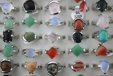 wholesale jewelry lots 50pcs nature gemstone colorful Charm Trendy silver P ring