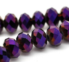 1 STRAND PURPLE AB CRYSTAL BEADS~RONDELLE ~8mm~ APPROX 72 BEADS~Bracelets  (25A)