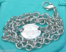 Please Return To Tiffany & Co New York Oval .925 Sterling Silver Chain Necklace