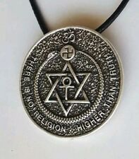 RARE OCCULT AMULET THEOSOPHY TALISMAN NECKLACE OUROBOROS MAGICK CHARM SILVER