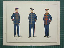 1920 CHROMOLITHOGRAPH MILITARY UNIFORM PRINT ~ SOLDIERS JACKETS & HATS