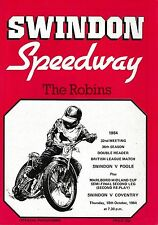 Speedway Programme SWINDON ROBINS v POOLE PIRATES & COVENTRY BEES Oct 1984