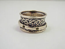 Israel Didae Sterling Silver Scroll Design Spinner Ring, size 8