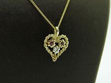 Panzer Kette mit Rubin Diamanten Herz Anhänger 585 Gold Set 45 cm Kinderkette