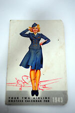 Vintage TWA Airline 1943 Hostess Calendar Flight Attendant Collectible Pin Up