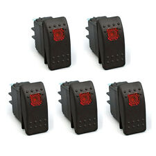 5Pcs 4Pin Waterproof 12V 20A Bar Rocker Toggle Switch Red LED Light Car Boat