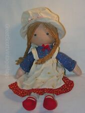 """Vintage 1980s Knickerbocker Hollie Hobby Cloth Doll 12"""" Tall Made in Taiwan"""