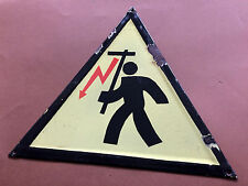 Vintage Tin Porcelain Enamel Sign Warning Danger Electrical Shock Hazard 1970's
