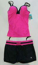 NWT Womens Hot Pink/ Steel FREE COUNTRY 2-Piece Tankini Swim Short Set Size XL