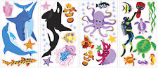AWESOME OCEAN wall stickers 46 decals Sea Shark Whale Fish Dolphin scrapbook