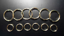 "12 TOTAL ~ 6 each (1"" &  9/16"") Split Key Rings  -  POLISHED SOLID  BRASS"