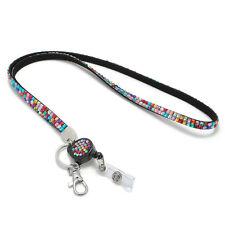 Rhinestone Crystal Lanyard Necklace ID Badge Phone Antitheft Keychain Holder