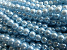 "110 x Light Blue Glass Pearl Beads 8mm (32"" Strand) Faux Imitation Pearls, Beads"