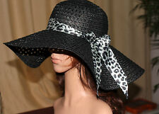 BLACK LADY'S Wide Large Brim Floppy Fold Summer Beach Sun Straw Beach Derby Hat