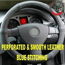 CAR STEERING WHEEL COVER PERFORATED & SMOOTH LEATHER BLUE STITCHING
