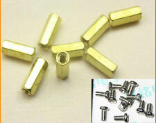10PCS 12mm Hollow Female PCB Spacer Hex Stand-Off Pillar Brass+Screws #SH412-5