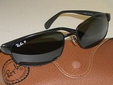 RAY BAN RB3247 59[]17 SLEEK BLACK POLARIZED GLASS LENS SUNGLASSES MINT CONDITION