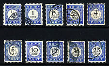 NETHERLANDS 1895 to 1909 POSTAGE DUES New Colour Issues SG D42 to SG D53 VFU