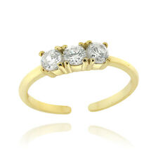 Gold over 925 Silver CZ Three Stone Toe Ring