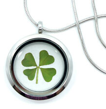 Real Handmade 4-Leaf Clover Glass Locket Necklace -Stainless Steel 4-Leaf Clover