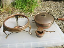 Vintage Copper Sauce Pan Frying Hot Plate Heater Stove Burner Cookware Tin Lined