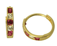 14K Yellow Gold 2mm Thick 5 Stone Red CZ Polished Hoop Huggies Earrings