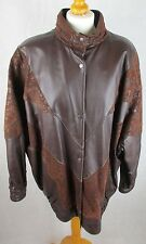 Vintage 80's Ladies Batwing Style -  Brown Leather and Suede Jacket