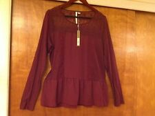 NWT LC Lauren Conrad Lace Yoke Mix Media Top tawny port size L